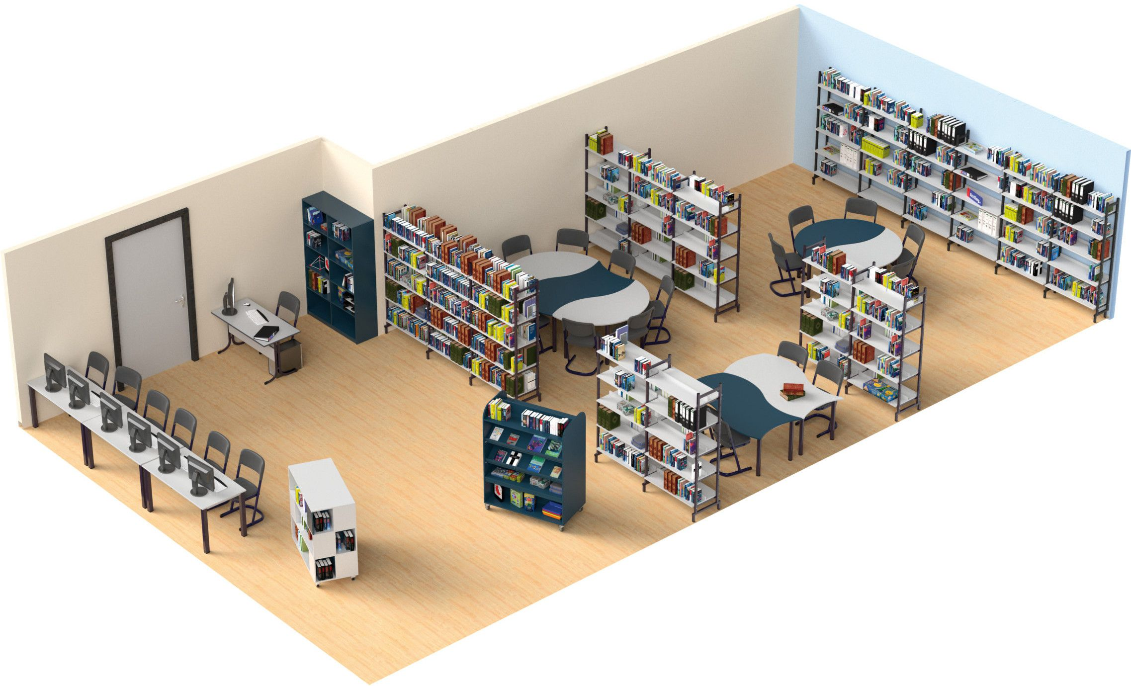 Raumplanung einer Schulbibliothek