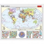 Wandkarte Die Erde, politisch mit Flaggen, 153x125cm