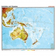 Wandkarte Australien/Ozeanien, physisch, 140 x 100 cm,