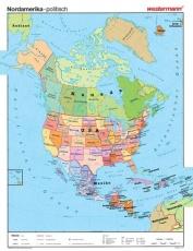 Wandkarte Nordamerika, politisch, 140x180 cm,