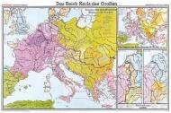 Wandkarte Das Reich Karls des Großen, 200 x 140 cm,