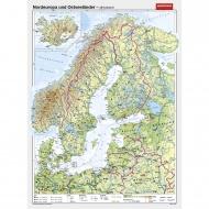 Wandkarte Nordeuropa, phys.(Vorderseite), polit.(Rückseite), 147x205cm,