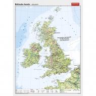 Wandkarte Britische Inseln, phys.(Vorderseite), polit.(Rückseite), 147x205 cm,
