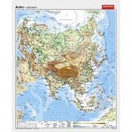 Wandkarte Asien, phys.(Vorderseite), polit.(Rückseite), 147x180 cm