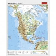Wandkarte Nordamerika, phys.(Vorderseite), polit.(Rückseite), 131x164cm