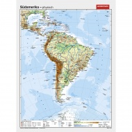 Wandkarte Südamerika, phys.(Vorderseite), polit.(Rückseite), 127x169cm