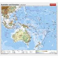 Wandkarte Australien, phys.(Vorderseite), polit.(Rückseite), 158x145cm