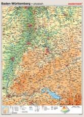 Wandkarte Baden-Württemberg, phys.(Vorderseite), polit.(Rückseite), 147x202cm