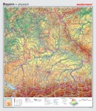 Wandkarte Bayern, phys.(Vorderseite), polit.(Rückseite), 147x169cm