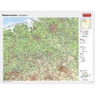 Wandkarte Niedersachsen, phys.(Vorderseite), polit.(Rückseite), 190x147cm