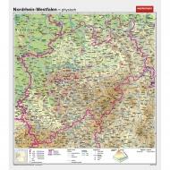 Wandkarte NRW, phys.(Vorderseite), polit.(Rückseite), 147x161cm
