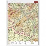 Wandkarte Rheinland-Pfalz/Saarland, phys.(Vorderseite), polit.(Rückseite), 147x202cm