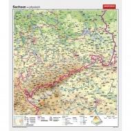 Wandkarte Sachsen, phys.(Vorderseite), polit.(Rückseite), 147x169cm