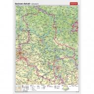 Wandkarte Sachsen-Anhalt, phys.(Vorderseite), polit.(Rückseite), 147x202cm