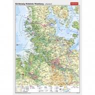 Wandkarte Schleswig-Holstein/HH, phys.(Vorderseite), polit.(Rückseite), 150x200 cm