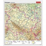 Wandkarte Thüringen, phys.(Vorderseite), polit.(Rückseite), 147x171cm
