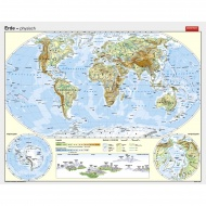 Wandkarte Die Erde, phys.(Vorderseite), polit.(Rückseite), 186x150 cm