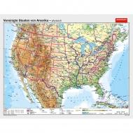 Wandkarte USA, phys.(Vorderseite), polit.(Rückseite), 187x148cm