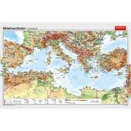 Wandkarte Mittelmeerländer, phys.(Vorderseite), polit.(Rückseite), 200x132cm,
