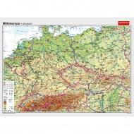 Wandkarte Mitteleuropa, phys.(Vorderseite), polit.(Rückseite), 202x147cm