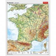 Wandkarte Frankreich, phys.(Vorderseite), polit.(Rückseite), 147x183cm