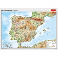 Wandkarte Iberische Halbinsel, phys.(Vorderseite), polit.(Rückseite), 202x147cm