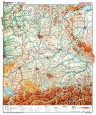 Wandkarte Bayern, phys.(Vorderseite), stumm (Rückseite), 105x130 cm,