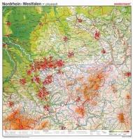 Wandkarte NRW, phys.(Vorderseite), stumm (Rückseite),115x125cm,