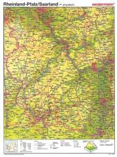 Wandkarte Rheinland-Pfalz/Saarland, phys.(Vorderseite), stumm (Rückseite),100x140 cm,