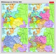 Wandkarte Mitteleuropa von 1914 bis 1990, 210 x 200 cm,