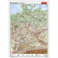 Wandkarte Deutschland, phys.(Vorderseite), stumm (Rückseite), 100x140 cm,