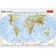 Wandkarte Die Erde, phys.(Vorderseite), stumm (Rückseite),140x100 cm