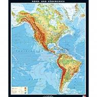 Wandkarte Nord- und Südamerika, physisch, 165x201cm,