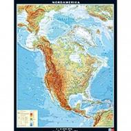Wandkarte Nordamerika, physisch, 153x201 cm,