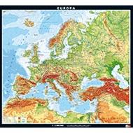 Wandkarte Europa, physisch, 208x189 cm,
