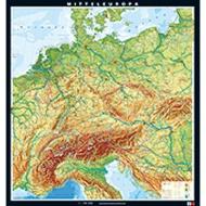 Wandkarte Mitteleuropa physisch, 198x211 cm, Maßstab: 1:750 000