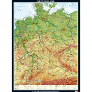Wandkarte Deutschland, physisch, 162x219 cm,