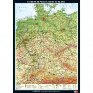 Wandkarte Deutschland, phys.(Vorderseite), polit.(Rückseite), 113x157cm