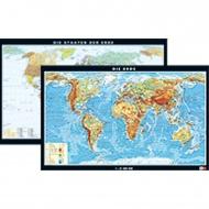 Wandkarte Erde, phys.(Vorderseite), polit.(Rückseite), 158x97cm,