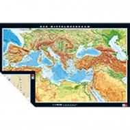 Wandkarte Mittelmeerländer, phys.(Vorderseite), polit.(Rückseite), 195x125m,