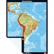 Wandkarte Südamerika, physisch/politisch, 132x173 cm,