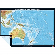 Wandkarte Australien/Ozeanien, physisch/politisch, 186x132 cm,
