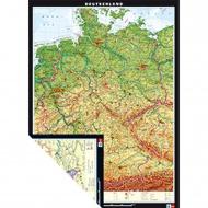 Wandkarte Deutschland, physisch/politisch, 133x186 cm,