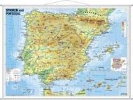 Wandkarte Spanien und Portugal physisch.