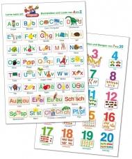 2 Lernposter: Buchstaben und Laute von A bis Z + Zahlen und Mengen von 1 bis 20.