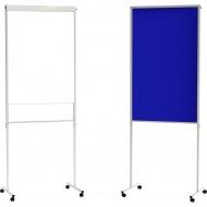 Moderationswand, fahrbar, Flip-Pin-Center, 70x181 cm (B/H), mit Stiftablage,