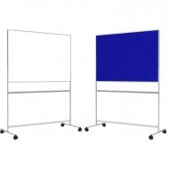 Tafel fahrbar, 150x100 cm, 1 Seite weiß, 1 Seite Stoff