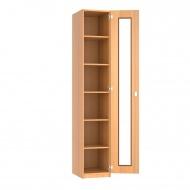 Schrank, 226 cm hoch,  45x50 cm (B/T), 1 Acrylglas-Dreh-Tür, 5 Böden, 6OH