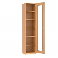 Schrank, 226 cm hoch,  50x40 cm (B/T), 1 Acrylglas-Dreh-Tür, 5 Böden, 6OH
