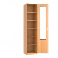 Schrank, 226 cm hoch,  50x50 cm (B/T), 1 Acrylglas-Dreh-Tür (2/3), 5 Böden, 6OH